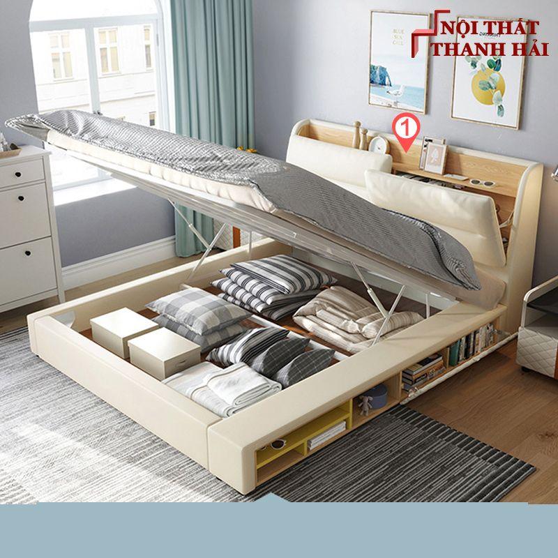 Giường ngủ đôi hiện đại đa năng thông minh GN023 màu kem