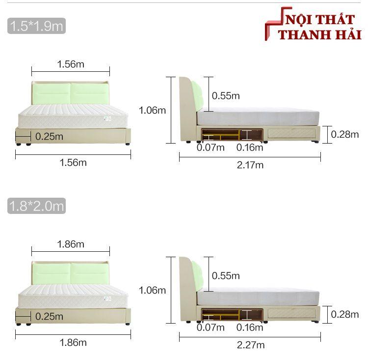 Kích thước Giường ngủ đôi hiện đại đa năng thông minh GN023