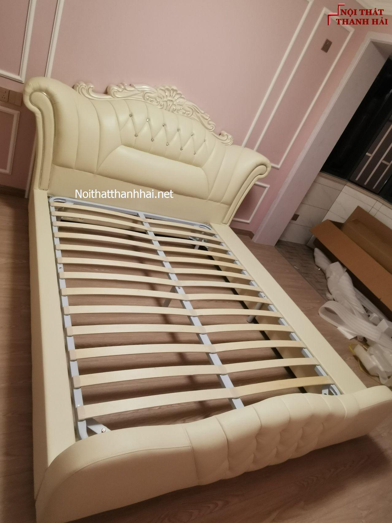 Ảnh thật giường ngủ bọc da hiện đại tân cổ điển cao cấp Nhập Khẩu GN024 2