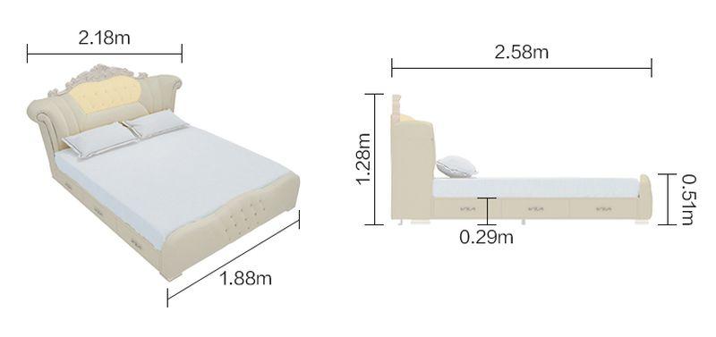 Kích cỡ giường tân cổ điển châu âu GN024)