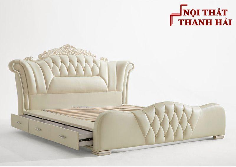 Giường công chúa bọc da châu âu GN024 màu kem có ngăn kéo 3