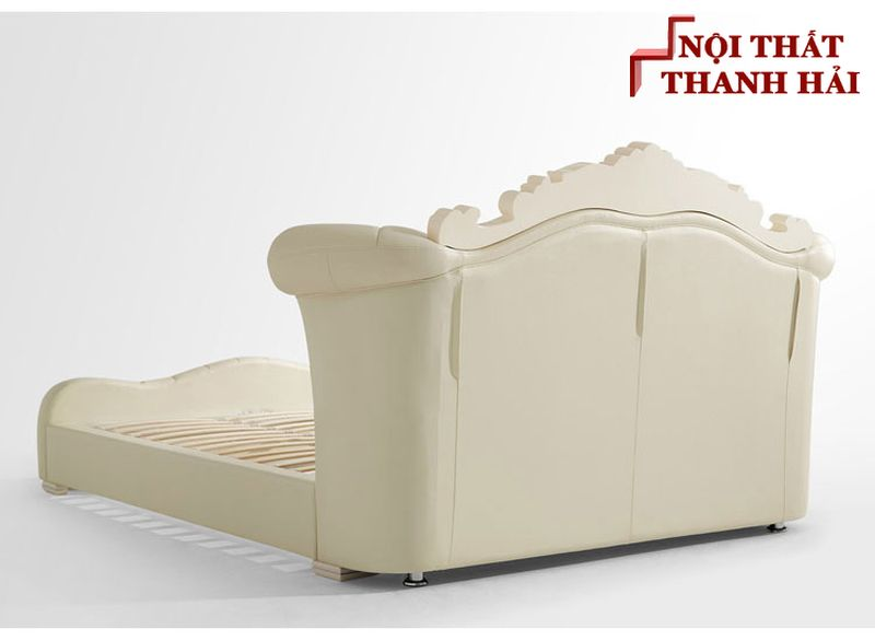Giường công chúa bọc da châu âu GN024 màu kem có ngăn kéo 4
