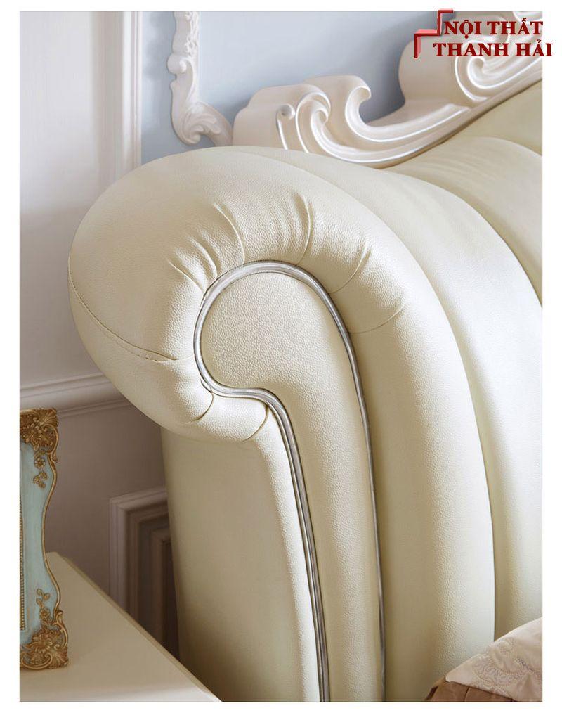 Giường công chúa bọc da châu âu GN024 màu kem 5