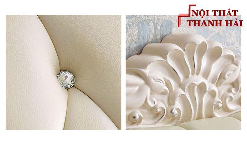 Giường công chúa bọc da châu âu GN024 màu kem 7