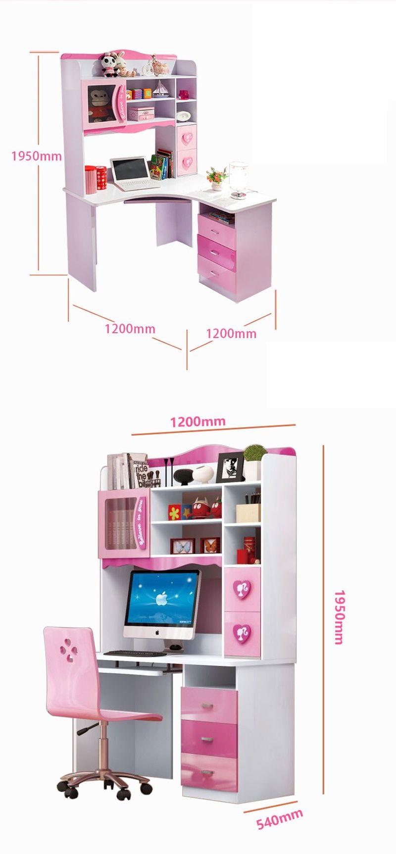 Kích cỡ Bàn học cho bé gái đẹp xinh xắn màu hồng BH203 kiểu D