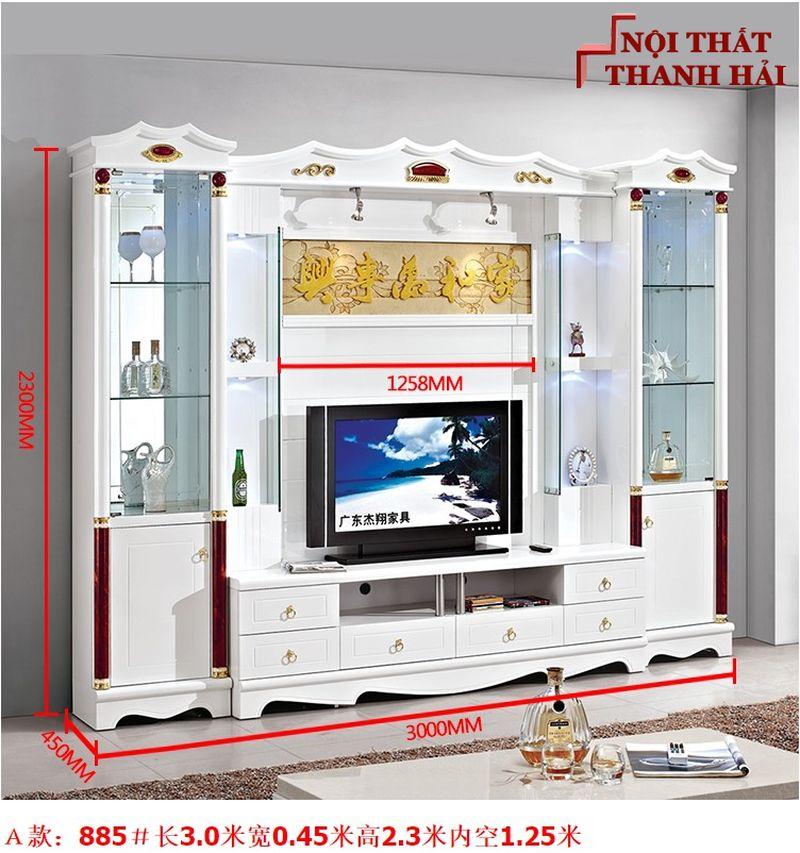 Bộ tủ rượu và kệ tivi phòng khách hiện đại sang trọng TR010 kiểu A