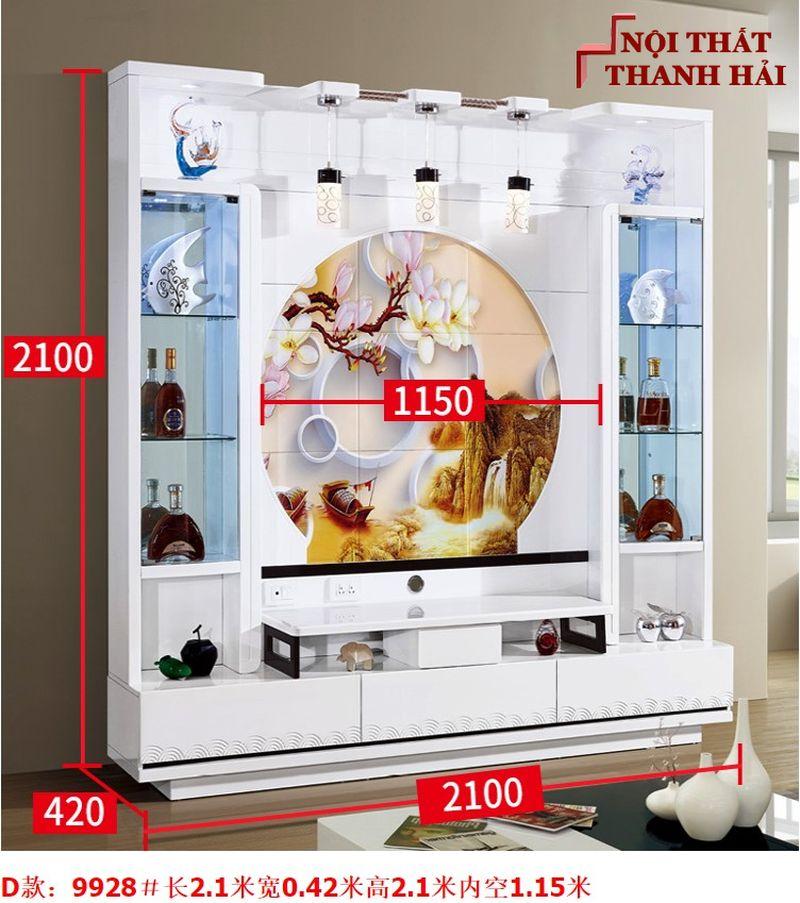 Bộ tủ rượu và kệ tivi phòng khách hiện đại sang trọng TR010 kiểu D
