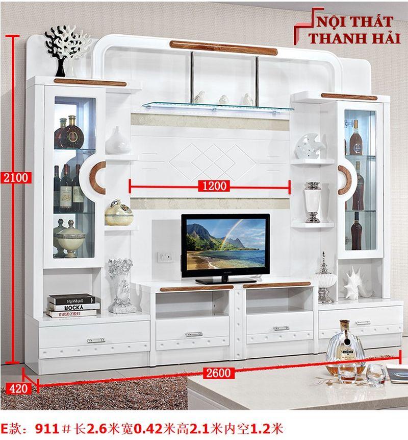 Bộ tủ rượu và kệ tivi phòng khách hiện đại sang trọng TR010 kiểu E