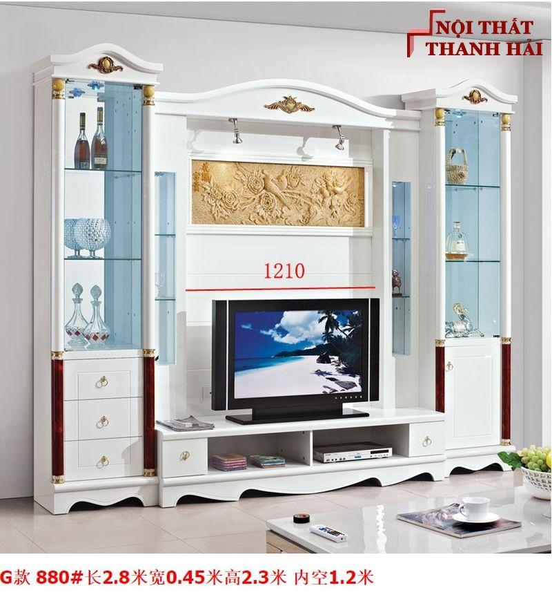 Bộ tủ rượu và kệ tivi phòng khách hiện đại sang trọng TR010 kiểu G