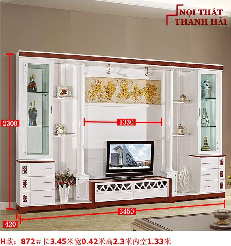 Bộ tủ rượu và kệ tivi phòng khách hiện đại sang trọng TR010 kiểu H