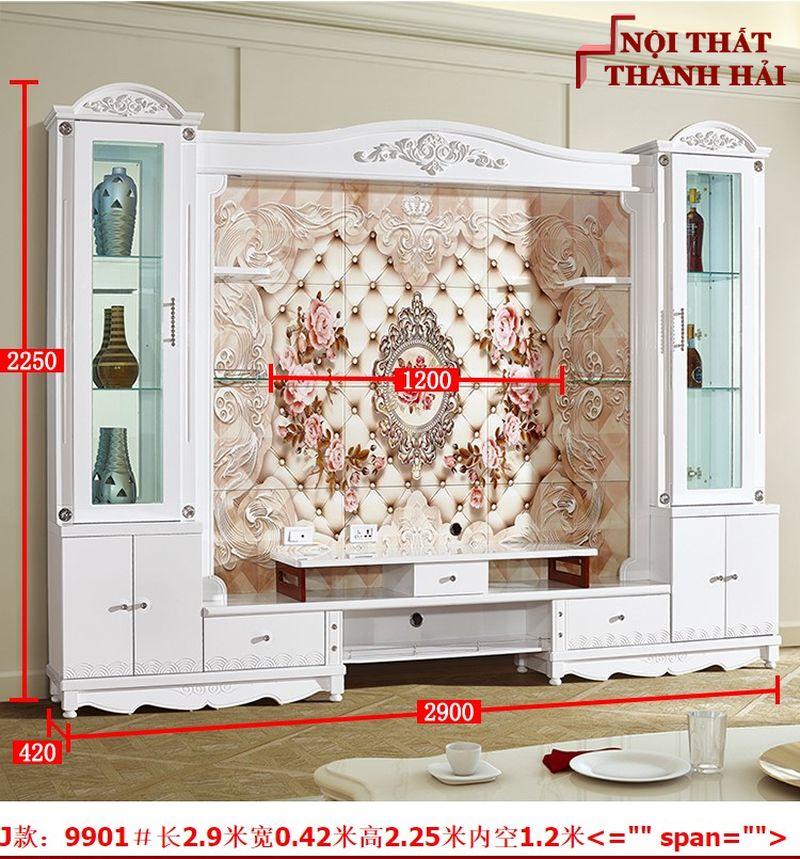 Bộ tủ rượu và kệ tivi phòng khách hiện đại sang trọng TR010 kiểu J