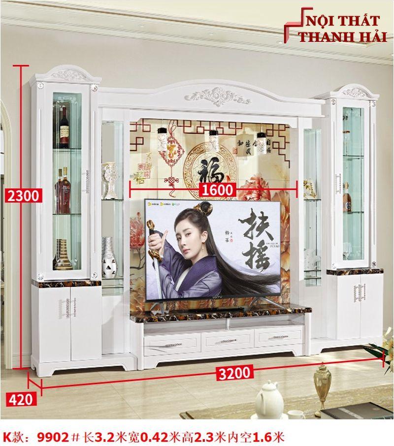 Bộ tủ rượu và kệ tivi phòng khách hiện đại sang trọng TR010 kiểu K