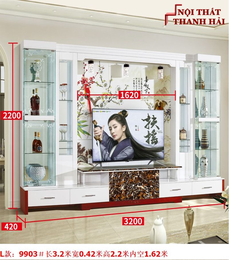 Bộ tủ rượu và kệ tivi phòng khách hiện đại sang trọng TR010 kiểu L
