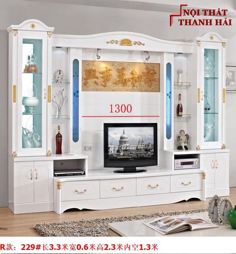 Bộ tủ rượu và kệ tivi phòng khách hiện đại sang trọng TR010 kiểu R