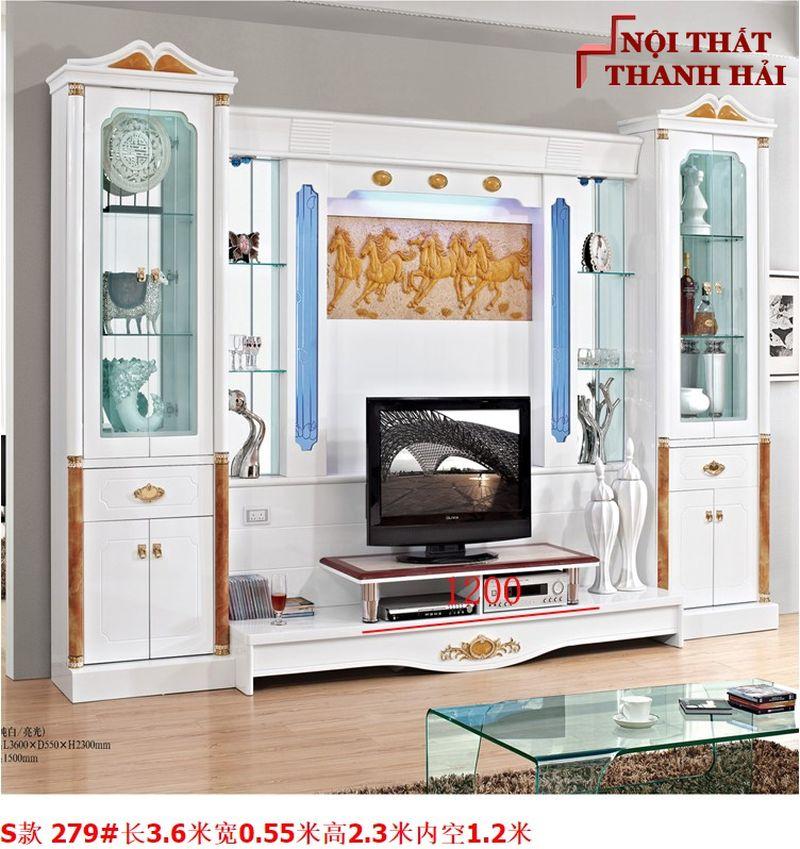 Bộ tủ rượu và kệ tivi phòng khách hiện đại sang trọng TR010 kiểu S