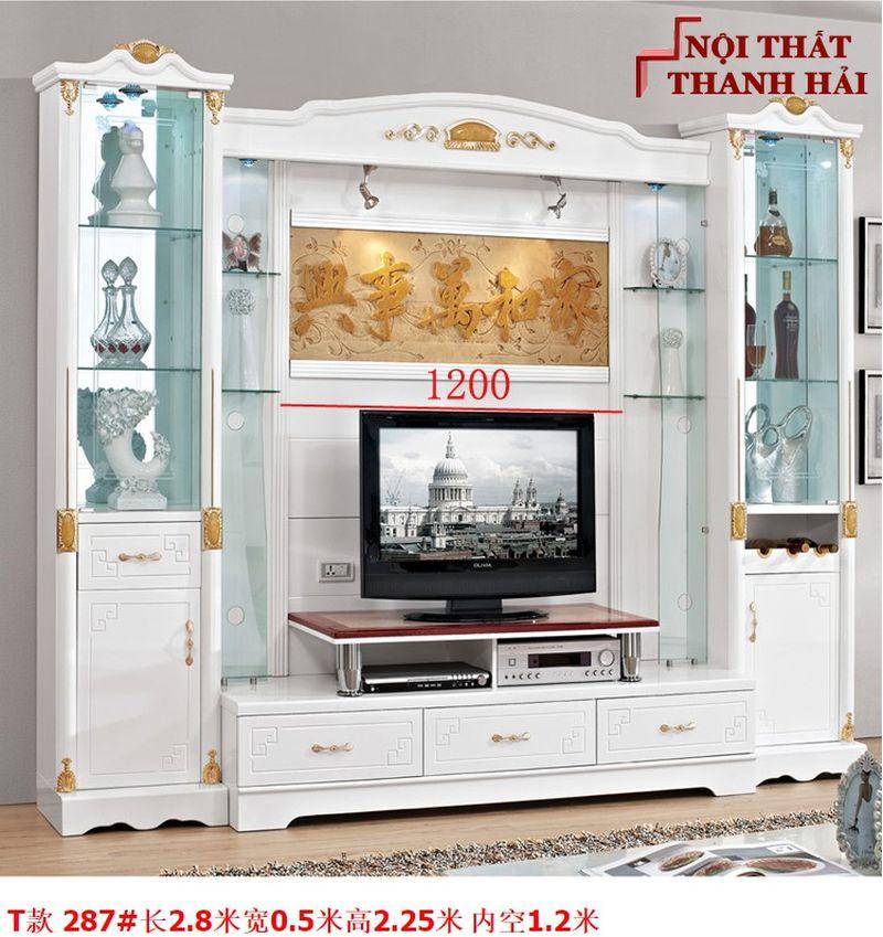 Bộ tủ rượu và kệ tivi phòng khách hiện đại sang trọng TR010 kiểu T