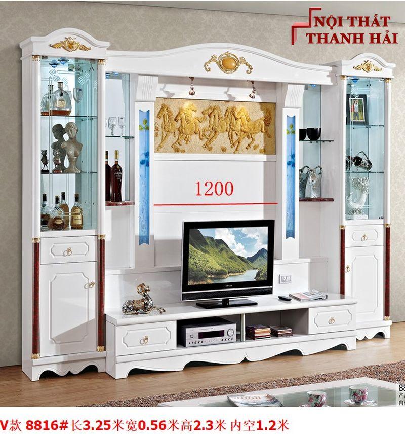 Bộ tủ rượu và kệ tivi phòng khách hiện đại sang trọng TR010 kiểu V