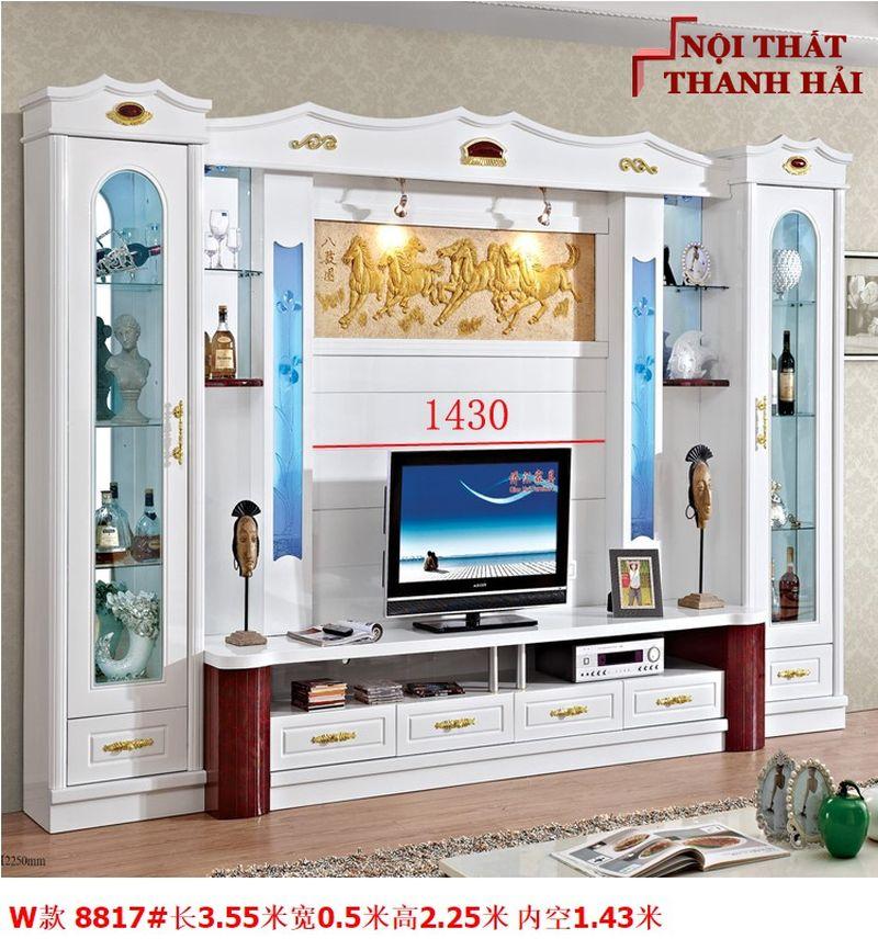 Bộ tủ rượu và kệ tivi phòng khách hiện đại sang trọng TR010 kiểu W