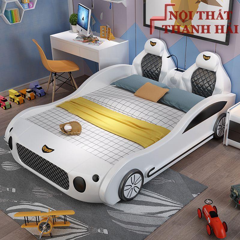 Giường bé trai kiểu dáng ô tô sang trọng GTE130 màu trắng