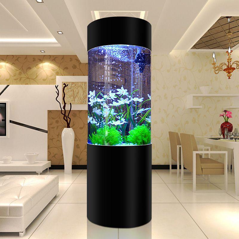 Bể cá trụ tròn thủy sinh nhập khẩu BC010 màu đen