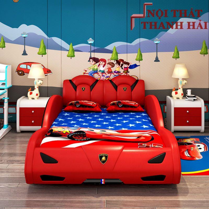 Giường siêu xe ô tô dành cho bé trai GTE145 màu đỏ