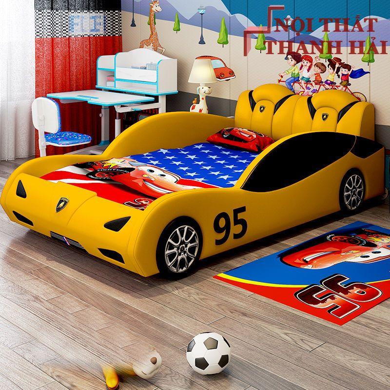Giường siêu xe ô tô dành cho bé trai GTE145 màu vàng