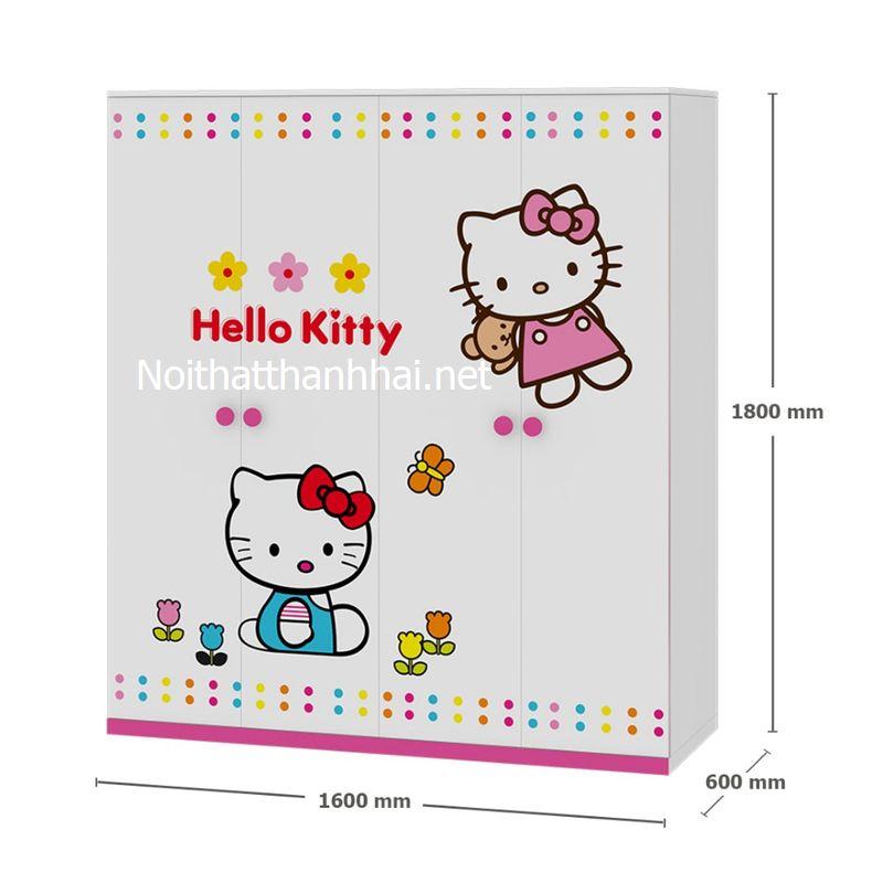 Tủ quần áo bé gái kiểu dáng hello kitty TTE010