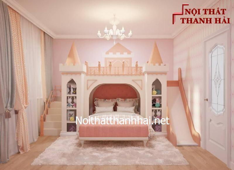 Giường tầng kiểu lâu đài cho bé, trẻ em 12