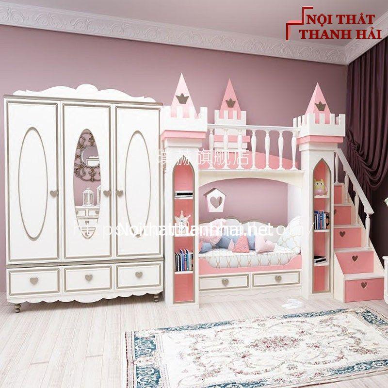 Giường tầng kiểu lâu đài cho bé, trẻ em 17