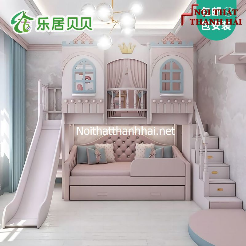 Giường tầng kiểu lâu đài cho bé, trẻ em 23