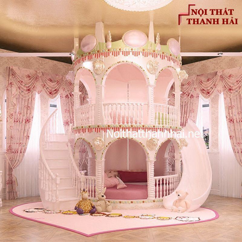 Giường tầng kiểu lâu đài cho bé, trẻ em 4
